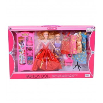 DOLLS WITH WARDROBE AND DRESSES