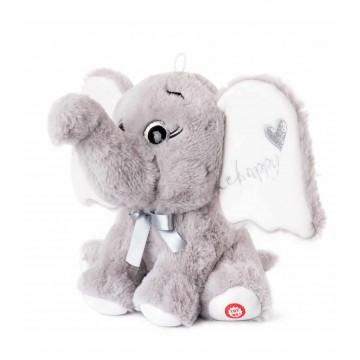 PLUSH ELEPHANT WITH HEART - GRAY
