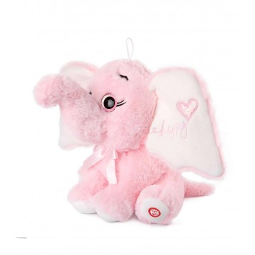 PLUSH ELEPHANT WITH HEART - PINK