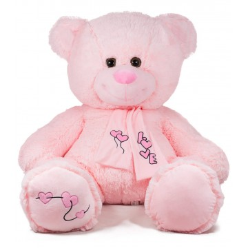 TEDDY BEAR WITH SCARF-PINK