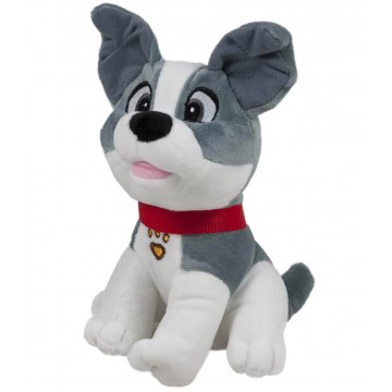 PLUSH DOG WITH STRAP GRAY 23 cm