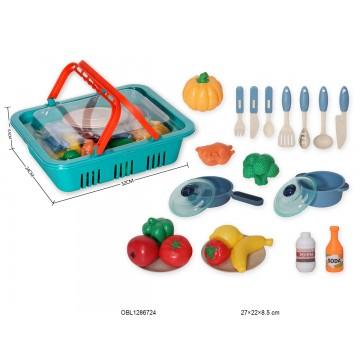 BASKET WITH FRUIT VEGETABLES AND UTENSILS