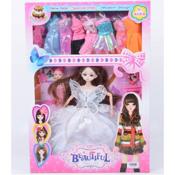 DOLL WITH BUTTERFLY, CHILD AND 8 DRESSES