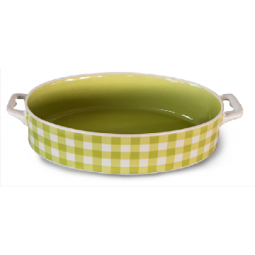 Baking dish with handles oval green 32x20x5.5sm