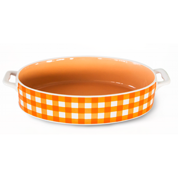 Baking dish with handles oval orange 32x20x5.5sm