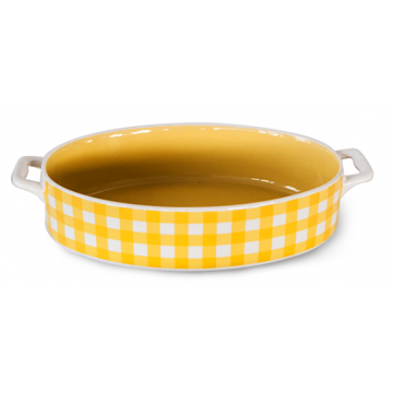 Baking dish with handles oval yellow 32x20x5.5sm