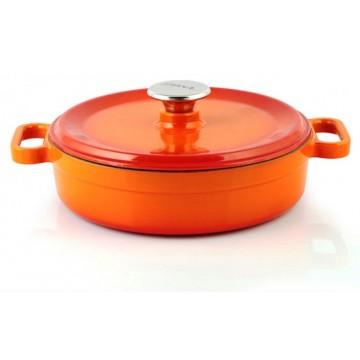 Silver - cast iron pot - shallow 28 cm