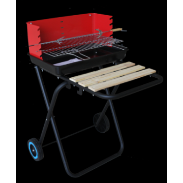 barbecue with wooden stand