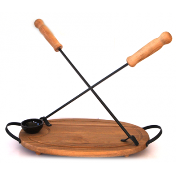 Board ellipse with 2 pcs. skewers - 40 cm and a salt-pan