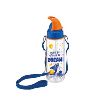 """Decorated bottle with straw 500ml """"Sonic"""""""