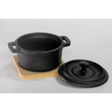 Mini Cast Iron Pot With Bamboo Base 10х13 cm