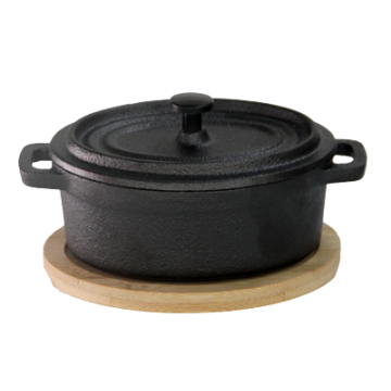 Mini Cast Iron Pot Oval Shape Wth Bamboo Base 10х12 cm