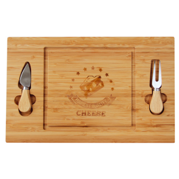 Bamboo cheese board with knifes
