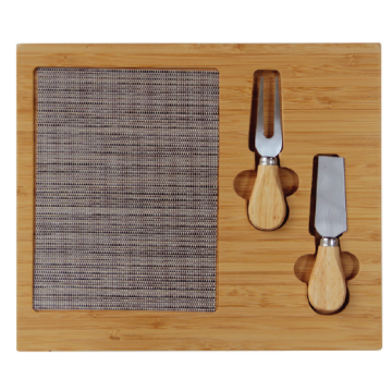 Bamboo cheese board with knifes 30cm
