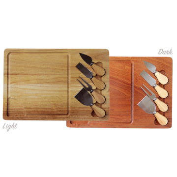 Bamboo cheese board with knifes - light