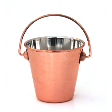 Metal mini serving bucket with cooper finish 7,5cm