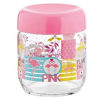 Glass jar with decor Flamingo 425 ml