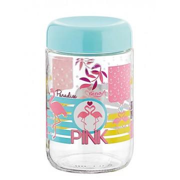 Glass jar with decor Flamingo 660 ml