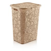 50 lt Motif Laundry Basket BEIGE