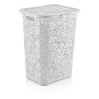50 lt Motif Laundry Basket WHITE
