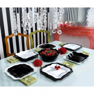 Dinner set LUMINARC AUTHENTIC black and white 19 pcs