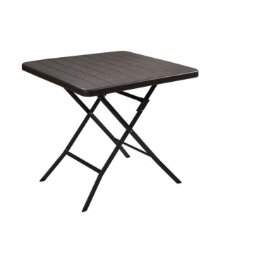 Folding square table with wooden slates design