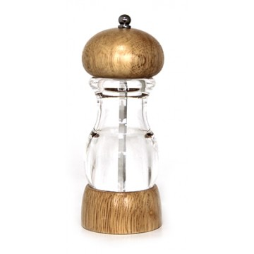 Acrylic pepper mill with wooden lid 16cm