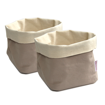ILSA - Set of two square bread baskets BEIGE