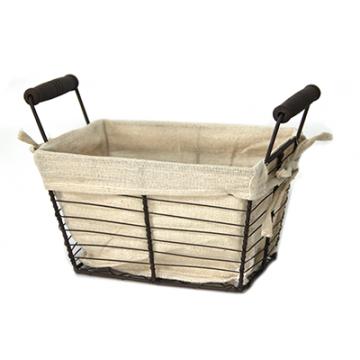 Rectangular metal/textile towel with wooden handles 25.5 cm