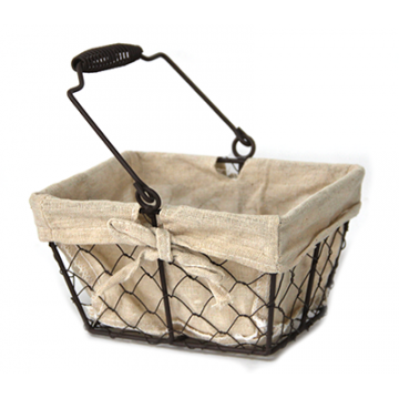 Rectangular metal/textile towel with metal handle 16 cm