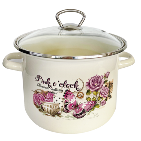 "POT with glass lid ""PINK OF TIME"" 5,5lt"