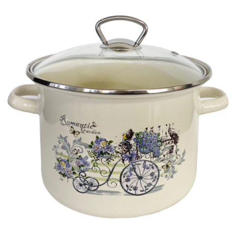 "POT with glass lid ""ROMANTIC GARDEN"" 3lt"
