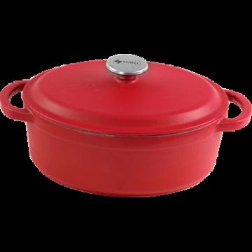 SUREL-Cast iron casserole Oval enamel coating-RED