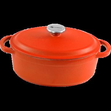 SUREL-Cast iron casserole Oval enamel coating-ORANGE