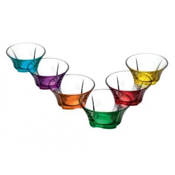 Glass bowl set (6 pieces) Coral Truva