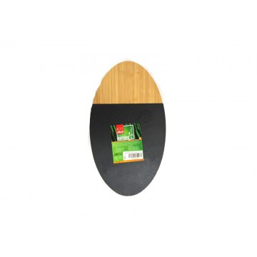 Bamboo board ellipse for presentation with mica 26 cm