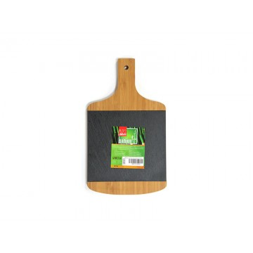 Bamboo board rectangular with handle and mica for presentation 28 cm