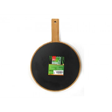 Bamboo board circle with handle and mica for presentation 28,8 cm