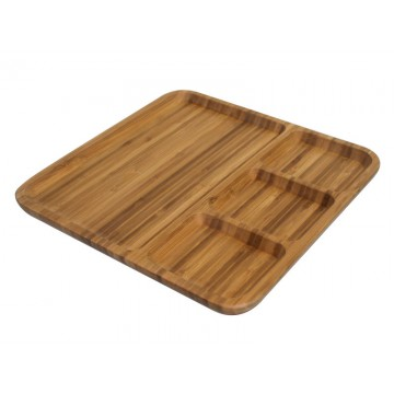 Bamboo boards serving with 4 compartments